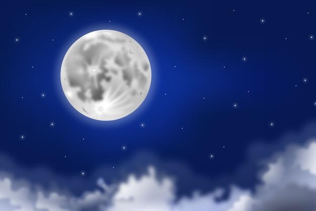 Concepto de fondo de cielo de luna llena realista