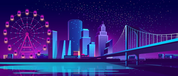 Concepto de fondo con la ciudad de noche