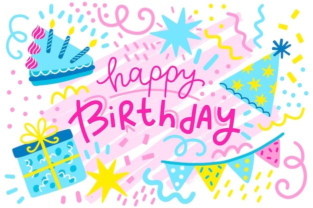Concepto de fondo de cumpleaños dibujado a mano