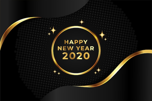 Concepto de fondo dorado año nuevo 2020