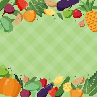 Concepto de fondo de frutas y verduras