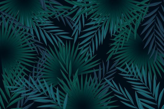 Concepto de fondo de hojas tropicales oscuro realista