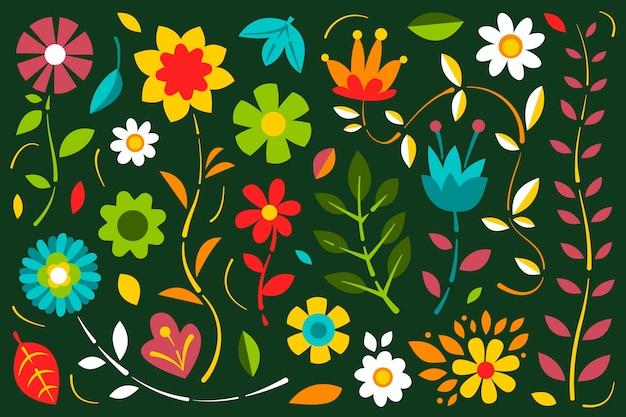 Concepto de fondo de impresión floral ditsy colorido