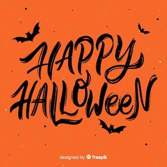 Concepto de fondo de lettering de feliz halloween