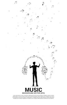 Concepto de fondo de música y sonido. conductor y melodía musical en forma de nota icono de auriculares.