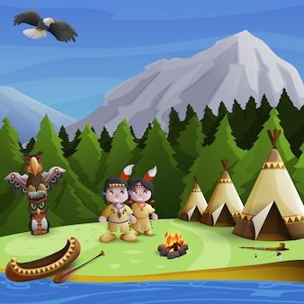 Concepto de fondo de nativos americanos