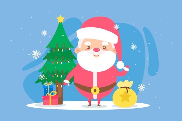 Concepto de fondo de navidad dibujado a mano
