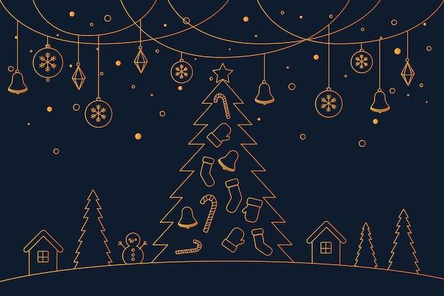 Concepto de fondo de navidad en estilo de contorno