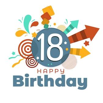 Concepto de fondo de pantalla de feliz cumpleaños número 18