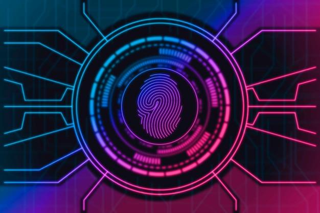 Concepto de fondo de pantalla de huella digital de neón