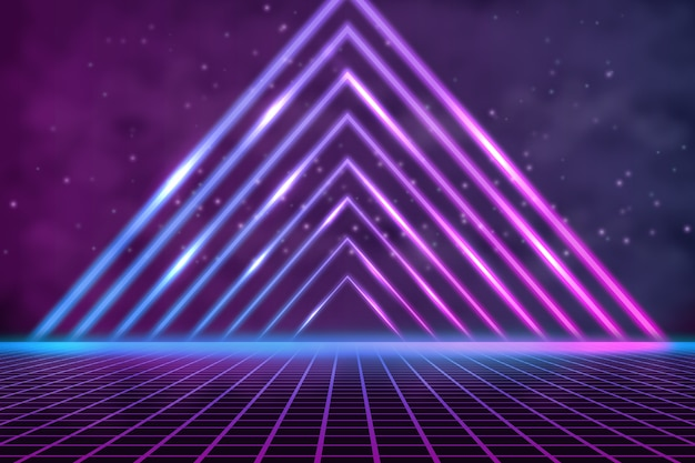 Concepto de fondo de pantalla de luces de neón de formas geométricas