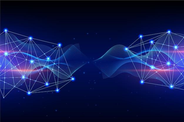 Concepto de fondo de partículas de tecnología izquierda y derecha