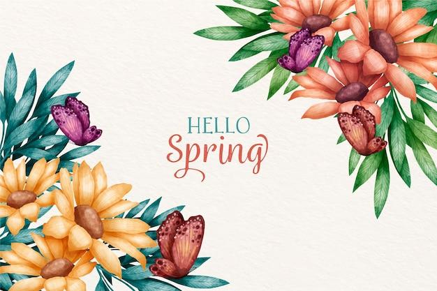 Concepto de fondo de primavera acuarela