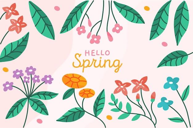 Concepto de fondo de primavera dibujado a mano