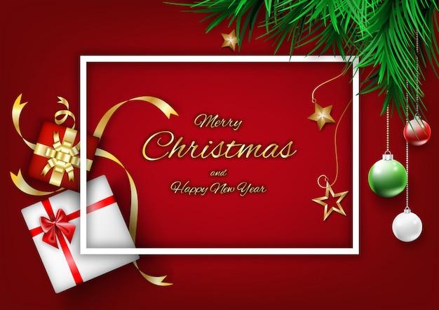 Concepto de fondo rojo de navidad con decoración de marco