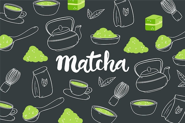 Concepto de fondo de té matcha dibujado a mano