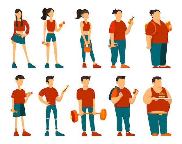 Del concepto en forma a la grasa. la mujer y el hombre engordan.