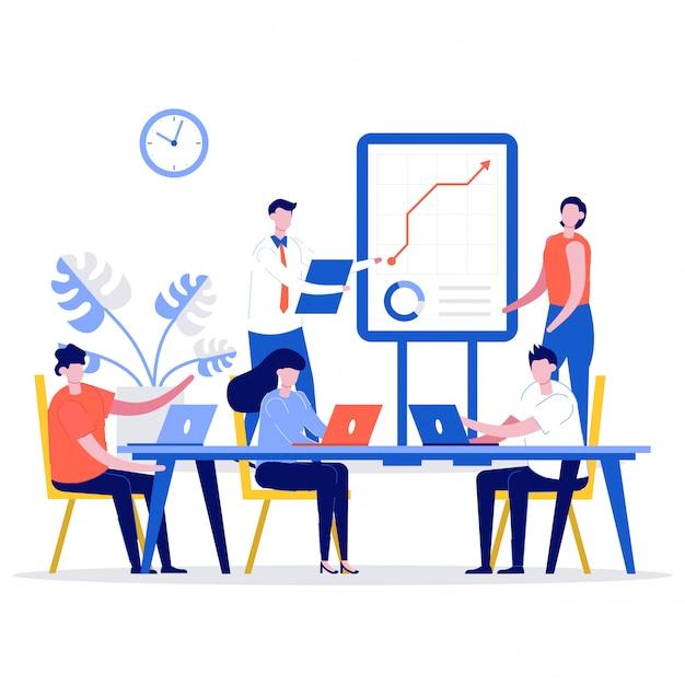 Concepto de formación o cursos de negocios con personajes.