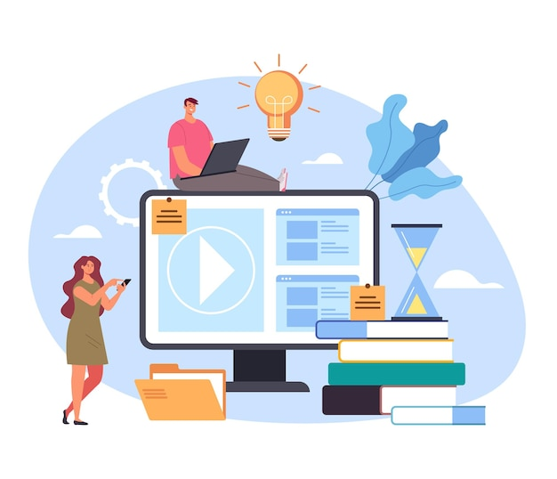 Concepto de formación tutorial de educación en el hogar digital de internet web en línea