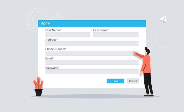 Concepto de formulario de registro con carácter de hombre