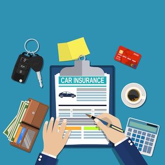Concepto de formulario de seguro de automóvil