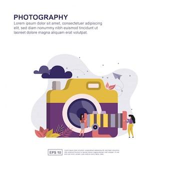 Concepto de fotografía diseño plano para su presentación.