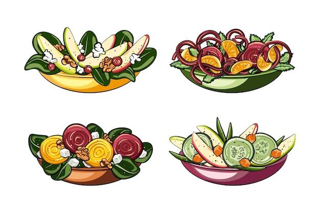 Concepto de frutas y ensaladeras