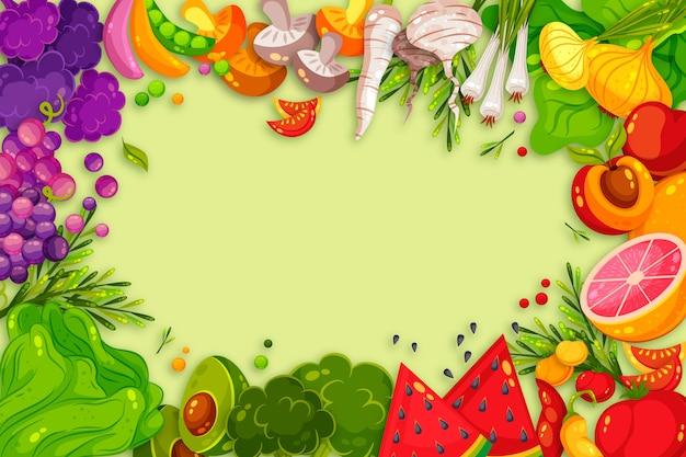 Concepto de frutas y verduras para fondo de pantalla