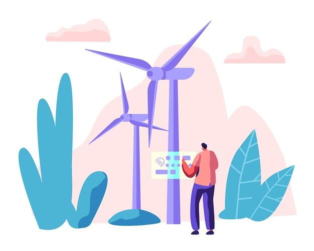 Concepto de fuentes de energía alternativas con turbinas wint y carácter trabajador. medio ambiente tecnología energética energías renovables.