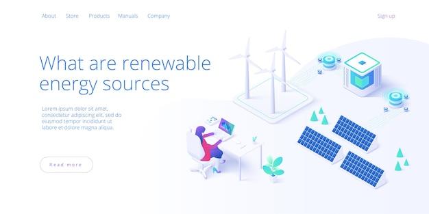 Concepto de fuentes de energía renovable en página de destino isométrica
