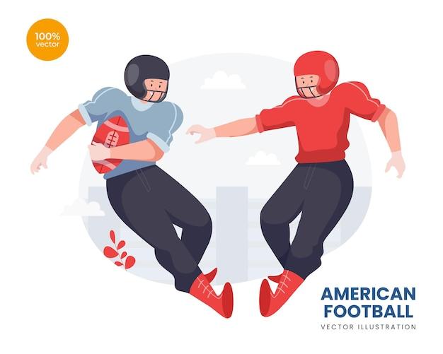 Concepto de fútbol americano idea de ilustración, el atleta masculino tratando de atrapar la pelota en un partido.
