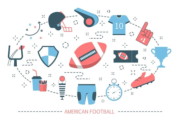 Concepto de fútbol americano. juego de deporte con pelota ovalada
