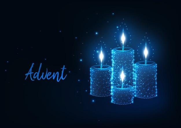 Concepto futurista de adviento de navidad con brillantes velas poligonales bajas encendidas con luces