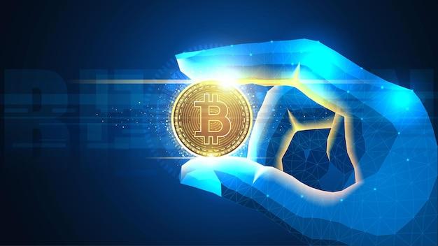 Concepto futurista de bitcoin brillante en una mano