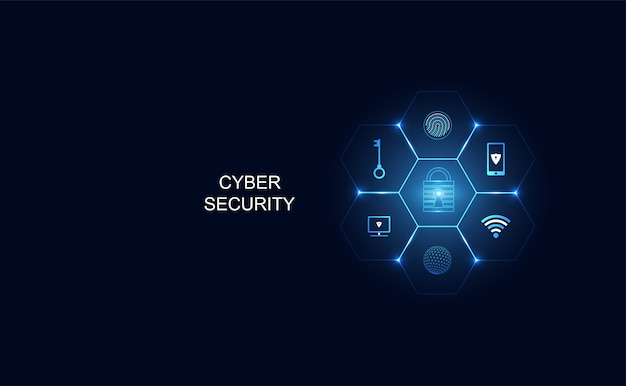 Concepto futurista ciber amenaza en forma de iconos