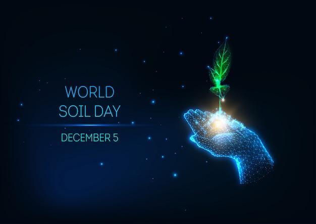 Concepto futurista del día mundial del suelo con resplandor bajo poli mano asimiento verde brote sobre fondo azul oscuro.