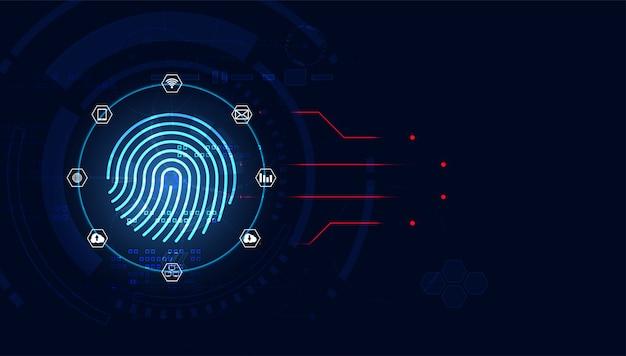Concepto futurista con huellas dactilares. detección de robos