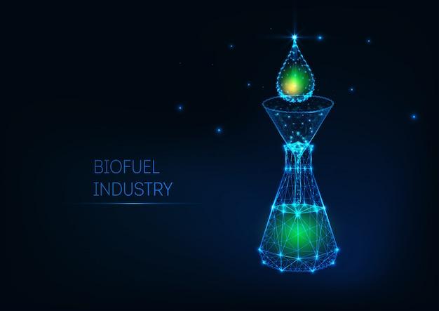 Concepto futurista de la industria de biocombustibles con gota de petróleo verde brillante de baja poli