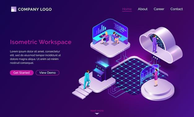 Concepto futurista isométrico del espacio de trabajo