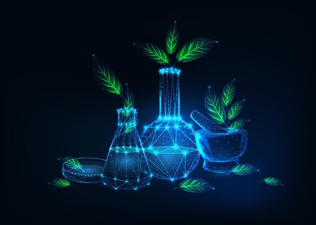 Concepto futurista de tecnología ecológica con equipos de laboratorio y plantas verdes.