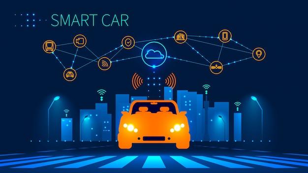 Concepto futuro automóvil automatizado en paso de peatones urbano