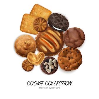 Concepto de galletas realistas con galletas de corazones y sándwich de chocolate