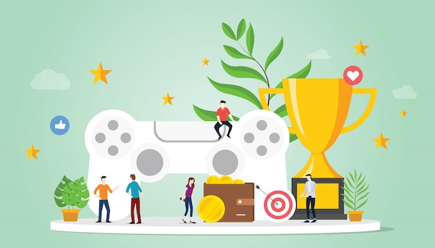 Concepto de gamificación de vida con objetivos recompensa y estrella con equipo y gran trofeo.