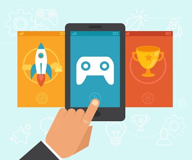 Concepto de gamification vector