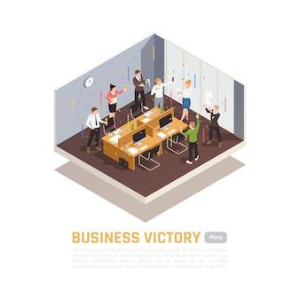 Concepto de ganador de banner de color isométrico con titular de victoria empresarial y sala de reuniones aislada
