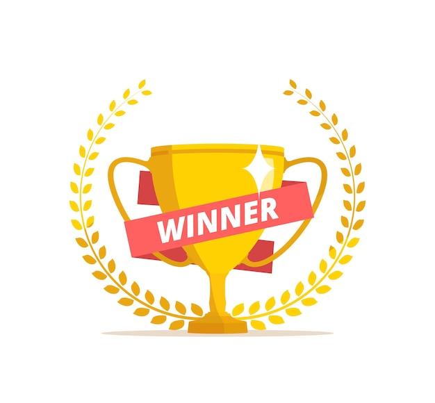 Concepto de ganador trofeo con cinta roja y corona de laurel
