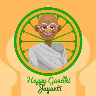 Concepto de gandhi jayanti de diseño plano