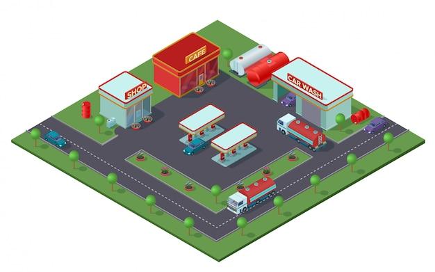 Concepto de gasolinera isométrica
