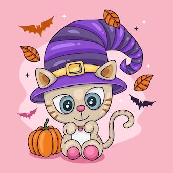 Concepto de gato de halloween dibujado a mano