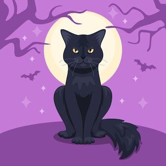 Concepto de gato de halloween de diseño plano